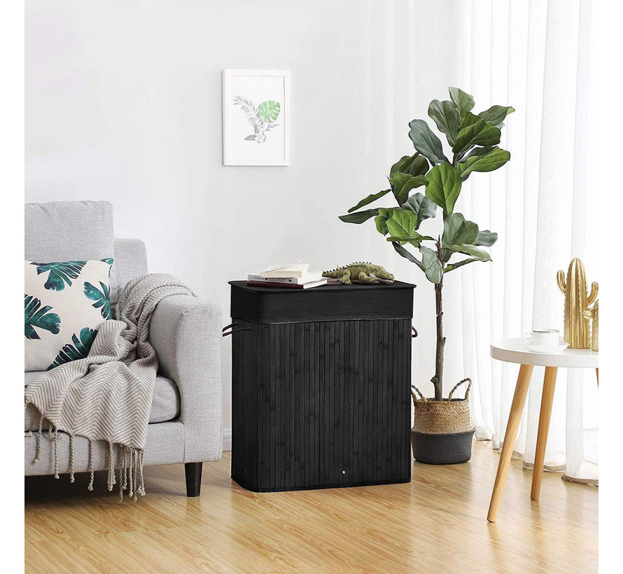 Laundry Basket with Lid, Bamboo Laundry Basket with Handles, Foldable Storage Basket for Laundry Room, Bedroom, 60Liter Black