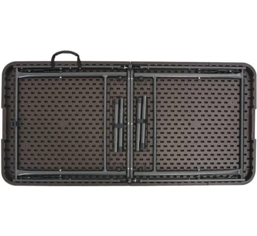Inklapbare tafel | campingtafel Tuintafel inklapbaar rattan look 180X76X74 cm HDPE bruin