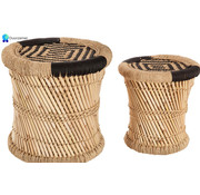 Discountershop Table set side table table set 2 bamboo bamboo round coffee table - Black and natural color