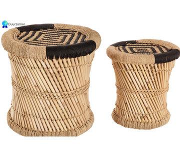 Discountershop Tafelset bijzettafel tafel set 2 bamboo bamboe ronde salontafel - Zwart en natuurkleur