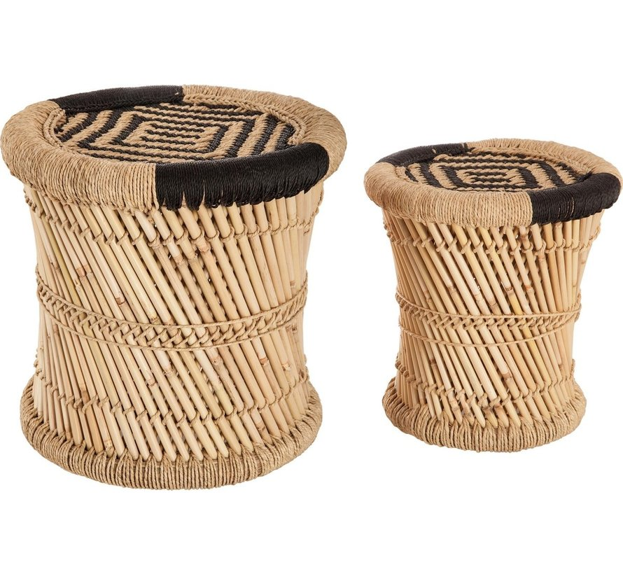 Table set side table table set 2 bamboo bamboo round coffee table - Black and natural color