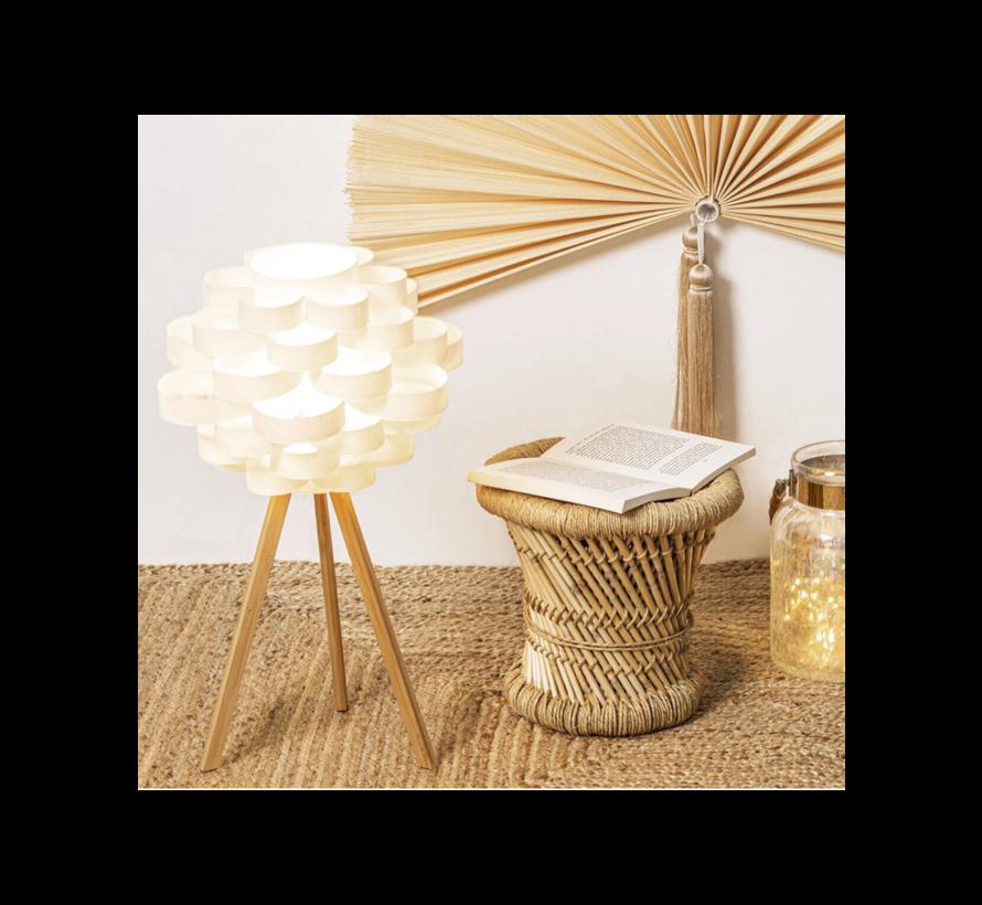 Tafelset bijzettafel tafel set 2 bamboo bamboe ronde salontafel - Zwart en natuurkleur