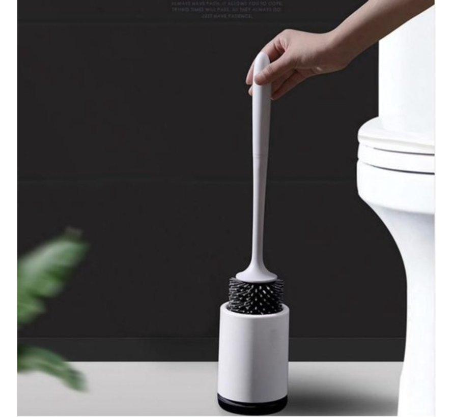 Toilet brush with holder - Stainless WC Brush with holder - Toilet brush with holder - Toilet brush in holder - Hygienic - Ventilation grids - Toilet brush with holder freestanding - Size 33x14 cm