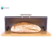 Discountershop Bamboo Bread Box With Roller Shutter - Helps Keep Bread Fresh - - Bread Box - Bread Storage Box - Fresh Keep Box - Bread Cabinet - Bread Bin - Bread Basket - Bamboo Bread Bin - Wood - 39 CM