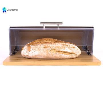 Discountershop Bamboe Broodtrommel Met Rolluik - Helpt Brood Vers Te Houden- - Brooddoos - Brood Bewaardoos - Vershouddoos - Broodkast - Broodbak - Broodmand - Bamboo Bread Bin - Hout - 39 CM