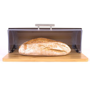 Merkloos Bamboo Bread Box With Roller Shutter - Helps Keep Bread Fresh - - Bread Box - Bread Storage Box - Fresh Keep Box - Bread Cabinet - Bread Bin - Bread Basket - Bamboo Bread Bin - Wood - 39 CM