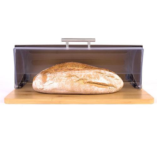 Merkloos Bamboe Broodtrommel Met Rolluik - Helpt Brood Vers Te Houden- - Brooddoos - Brood Bewaardoos -Vershouddoos -Broodmand