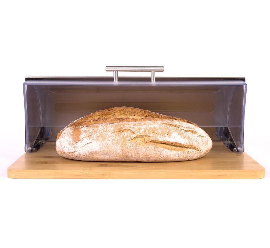 Bamboe Broodtrommel Met Rolluik - Helpt Brood Vers Te Houden- - Brooddoos - Brood Bewaardoos -Vershouddoos -Broodmand