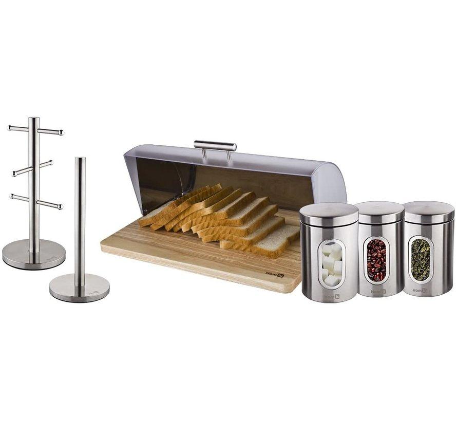 Bamboo Bread Box With Roller Shutter - Helps Keep Bread Fresh - - Bread Box - Bread Storage Box - Fresh Keep Box - Bread Cabinet - Bread Bin - Bread Basket - Bamboo Bread Bin - Wood - 39 CM