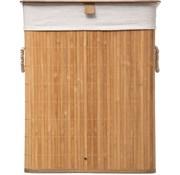 Merkloos Wasmand bamboe | Linnen | Opvouwbaar | Opbergmand | Laundry basket | Mand voor wasgoed | Met deskel | Met handvaten | Inclusief waszak | Natuurlijk hout | 60L | 40x30x50cm