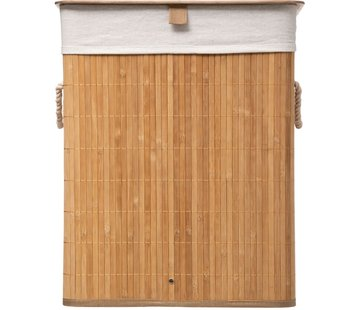 Discountershop Laundry basket bamboo | Linen | Foldable | Storage basket | Laundry basket | Laundry basket | With lid | With handles | Including laundry bag | Natural wood | 60L | 40x30x50cm