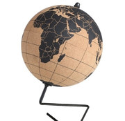 Discountershop Cork globe with metal stand - Diameter 15 cm - Cork globe with colored push pins - Rotatable globe Cork - Educational world map - Durable stainless steel base Easy to rotate - Keep track of the trips - Stylish decor