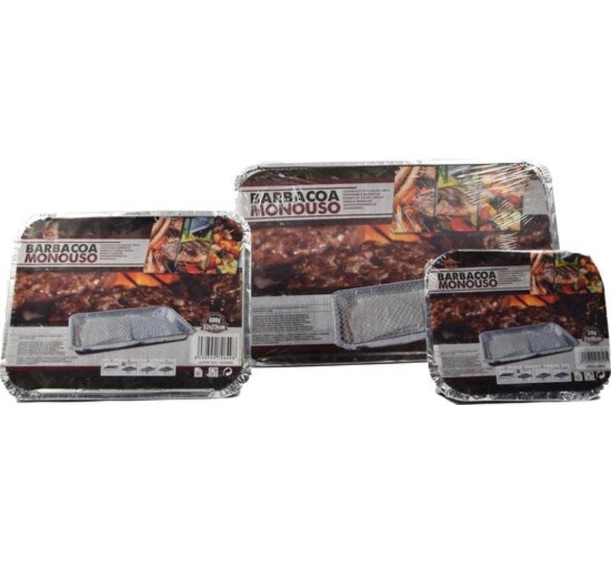 Set Barbecue - Instant - Wegwerp - Buiten barbecue - Tafel - Rooster - Balkon - Picknick - Barbecue accessoires - Grill - 3 Maten XL 1200 gram , L 600 gram , S 376 gram