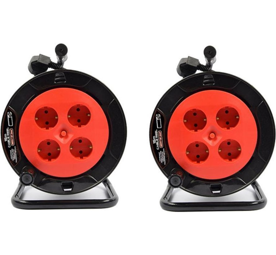2 pieces - Cable box extension cable cable reel cable extension reel with 4 earthed sockets 15 meters - Cable reel - reel - reel 15 meters - cable reel 250 volts   3000 watts