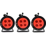Discountershop 3 pieces- Cable box extension cable cable reel cable extension reel with 4 earthed sockets 15 meters - Cable reel - reel - reel 15 meters - cable reel 250 volts   3000 watts