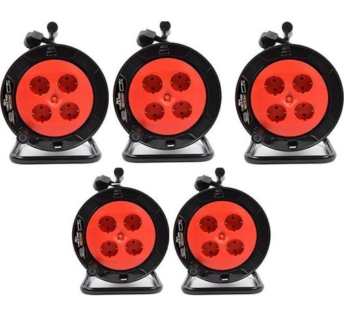Discountershop 5 pieces - Cable box extension cable cable reel cable extension reel with 4 earthed sockets 15 meters - Cable reel - reel - reel 15 meters - cable reel 250 volts   3000 watts