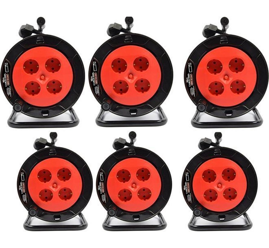 6 pieces - Cable box extension cable cable reel cable extension reel with 4 earthed sockets 15 meters - Cable reel - reel - reel 15 meters - cable reel 250 volts | 3000 watts