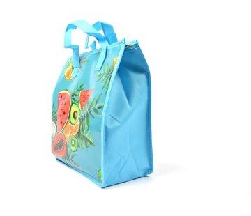 Discountershop Fresh & Cold koeltas -  Lunchtas - Koeltas - Lunchbox - Leuke Vrolijke Picknicktas -  koel|tas| strand| Koelbox | dames 8 liter polyetheen Blauw