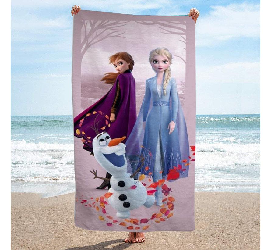 Disney Frozen Strandlaken met tasje - afmeting 70 x 140 cm - tasje 43 x 32 cm - Polyester