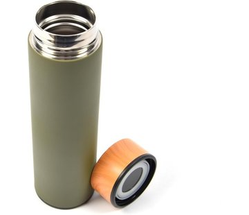 Discountershop Discountershop® |Thermos Insulating Bottle - 450ml -Compact Insulating Bottle 6.5 x 6.5 x 22.4 cm - Olive