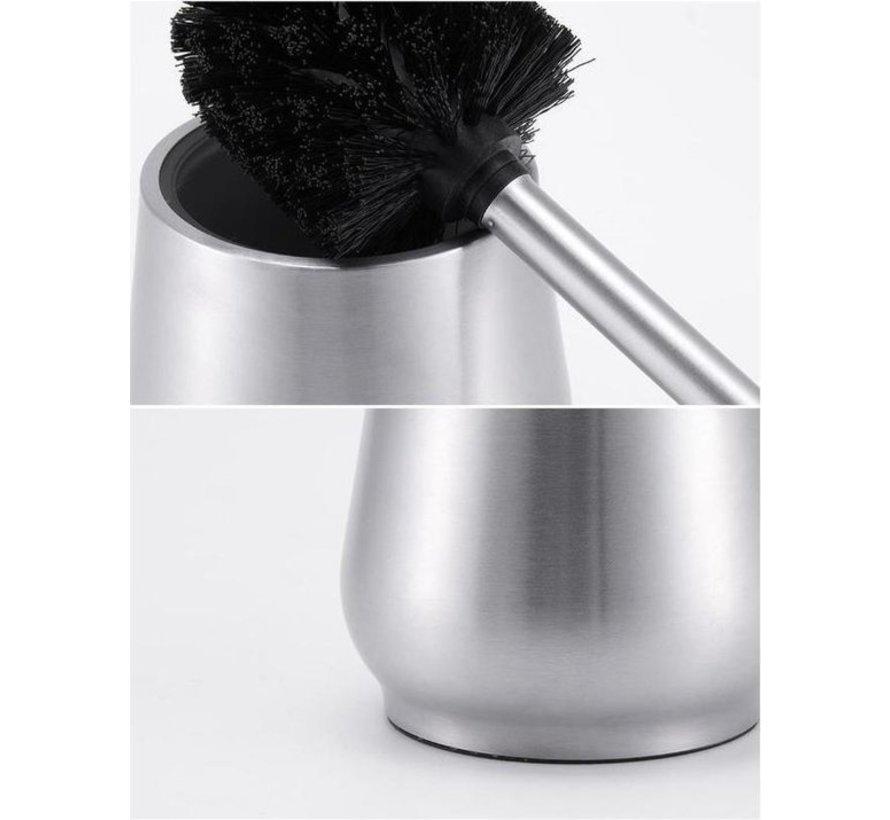 2 X Toiletborstel RVS - Wcborstel RVS Toiletborstel in houder  Toiletborstel met houder vrijstaand - RVS geborsteld
