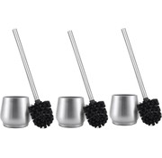 Discountershop 3 X Toilet Brush Stainless Steel - Toilet Brush Stainless Steel - Stainless Steel Toilet Brush in Holder - Toilet Brush Holder - Toilet Brush - Toilet Brush with Holder Freestanding - Brushed Stainless Steel
