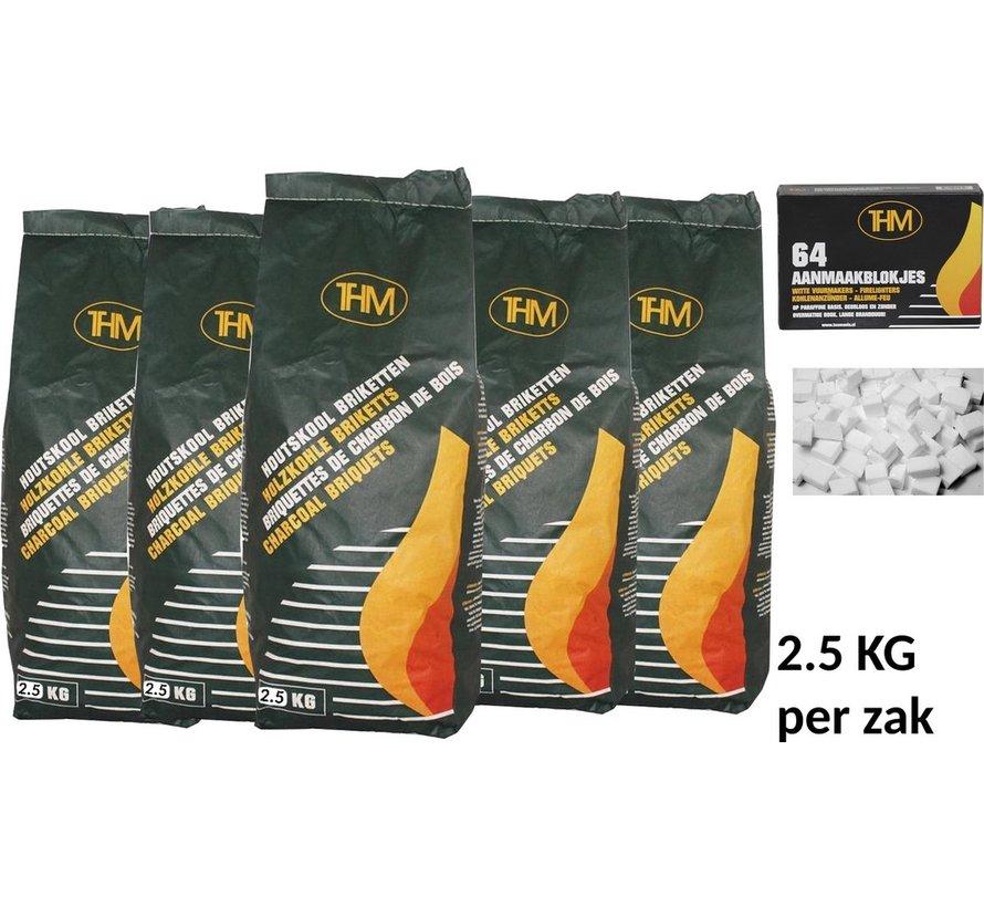 5 X houtskoolbriketten 2.5 Kg per -inclusief aanmaakblokjes 64 Stuks - Barbecue - BBQ - 5 Stuks - Totaal 12.5KG