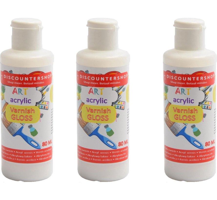 3X Acrylic varnish 80ML - Gloss varnish - Transparent - Gloss - Acrylic varnish Gloss