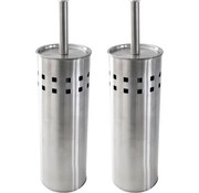 Discountershop 2 Pieces Toilet Brush Stainless Steel - Brushed Stainless Steel - Toilet Brush Stainless Steel - Stainless Steel Toilet Brush in Holder - Toilet Brush Holder - Toilet Brush - Toilet Brush - Silver - Stainless Steel