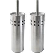 Discountershop 2 Stuks Toiletborstel RVS- geborsteld RVS - Wcborstel Rvs - RVS Toiletborstel in houder - Toiletborstelhouder - Wc borstel - Toiletborstel - Zilver - RVS