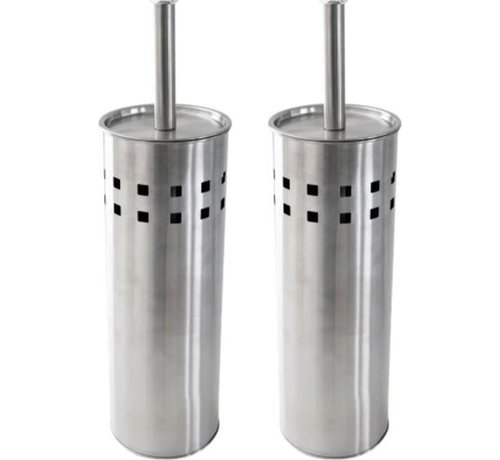 Discountershop 2 Stuks Toiletborstel RVS- geborsteld RVS - Wcborstel RVS Toiletborstel in houder - Toiletborstelhouder - Wc borstel