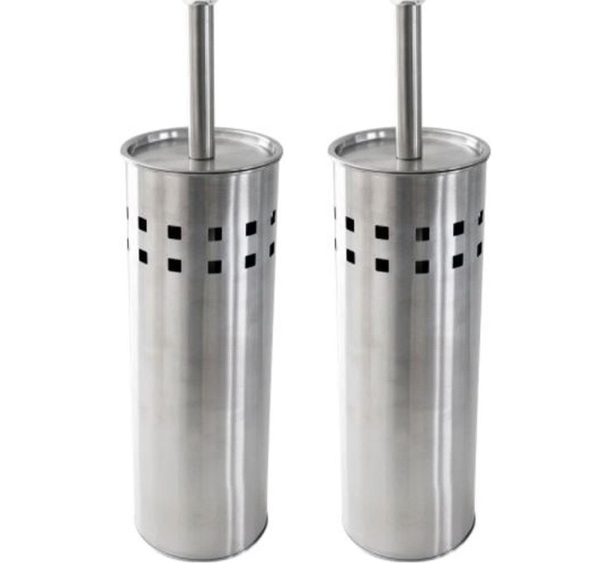 2 Pieces Toilet Brush Stainless Steel - Brushed Stainless Steel - Toilet Brush Stainless Steel - Stainless Steel Toilet Brush in Holder - Toilet Brush Holder - Toilet Brush - Toilet Brush - Silver - Stainless Steel