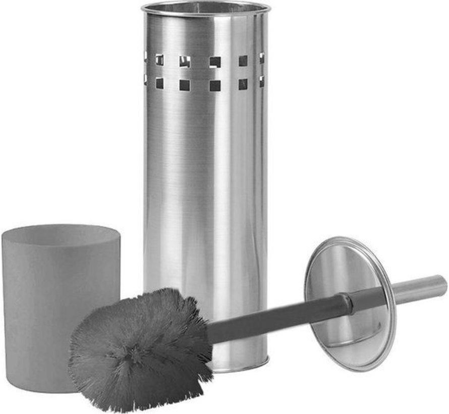 2 Stuks Toiletborstel RVS- geborsteld RVS - Wcborstel RVS Toiletborstel in houder - Toiletborstelhouder - Wc borstel