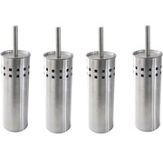 4 Pieces Toilet brush stainless steel - brushed stainless steel - Toilet brush Stainless steel - Stainless steel Toilet brush in holder - Toilet brush holder - Toilet brush - Toilet brush - Silver - Stainless steel