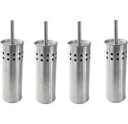 Merkloos 4 Stuks Toiletborstel RVS- geborsteld RVS - Wcborstel Rvs - RVS Toiletborstel in houder - Toiletborstelhouder - Wc borstel - Toiletborstel - Zilver - RVS