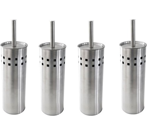 Merkloos 4 Stuks Toiletborstel RVS- geborsteld RVS - Wcborstel - RVS Toiletborstel in houder - Toiletborstelhouder - Wc borstel