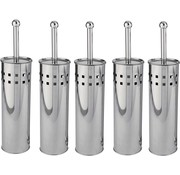 Discountershop 5 Stuks Toiletborstel RVS - Wcborstel Rvs - RVS Toiletborstel in houder - Toiletborstelhouder - Wc borstel - Toiletborstel - Zilver - RVS