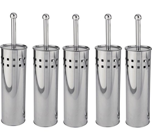 Discountershop 5 Pieces Toilet Brush Stainless Steel - Toilet Brush Stainless Steel - Stainless Steel Toilet Brush in Holder - Toilet Brush Holder - Toilet Brush - Toilet Brush - Silver - Stainless Steel