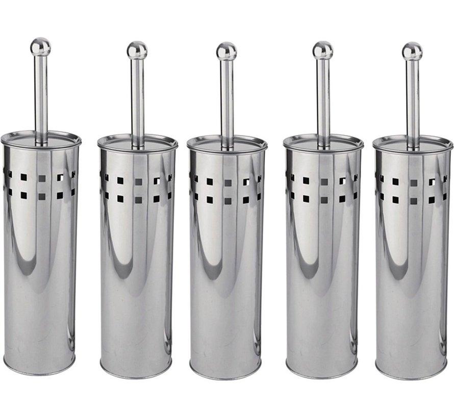 5 Pieces Toilet Brush Stainless Steel - Toilet Brush Stainless Steel - Stainless Steel Toilet Brush in Holder - Toilet Brush Holder - Toilet Brush - Toilet Brush - Silver - Stainless Steel