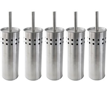 Discountershop 5 Pieces Toilet brush stainless steel - brushed stainless steel - Toilet brush Stainless steel - Stainless steel Toilet brush in holder - Toilet brush holder - Toilet brush - Toilet brush - Silver - Stainless steel