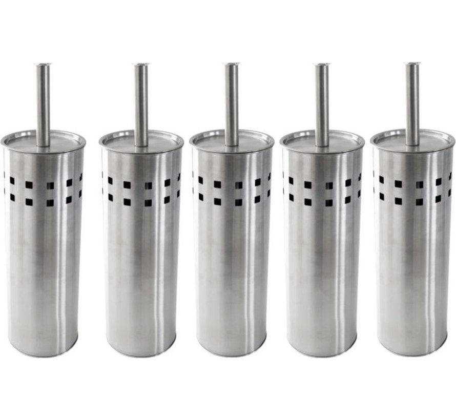 5 Pieces Toilet brush stainless steel - brushed stainless steel - Toilet brush Stainless steel - Stainless steel Toilet brush in holder - Toilet brush holder - Toilet brush - Toilet brush - Silver - Stainless steel