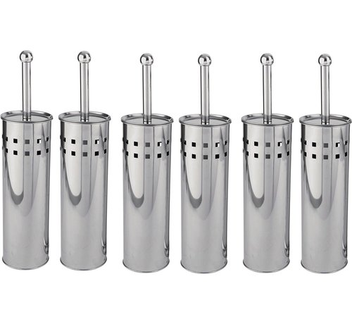 Discountershop 6 Pieces Toilet Brush Stainless Steel - Toilet Brush Stainless Steel - Stainless Steel Toilet Brush in Holder - Toilet Brush Holder - Toilet Brush - Toilet Brush - Silver - Stainless Steel