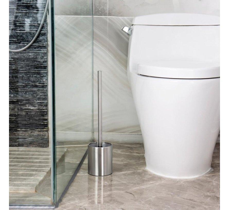 2 X Toiletborstel RVS - Wc-borstel Rvs - RVS Toiletborstel in houder - Toiletborstelhouder - Wcborstel - Toiletborstel met houder vrijstaand - RVS geborsteld