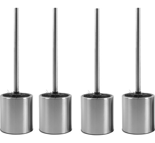 Discountershop 4 X Toilet Brush Stainless Steel - Toilet Brush Stainless Steel - Stainless Steel Toilet Brush in Holder - Toilet Brush Holder - Toilet Brush - 4 Pieces - Toilet Brush with Holder Freestanding - Brushed Stainless Steel