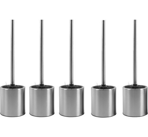 Discountershop 5 X Toilet Brush Stainless Steel - Toilet Brush Stainless Steel - Stainless Steel Toilet Brush in Holder - Toilet Brush Holder - Toilet Brush - 5 Pieces - Toilet Brush with Holder Freestanding - Brushed Stainless Steel