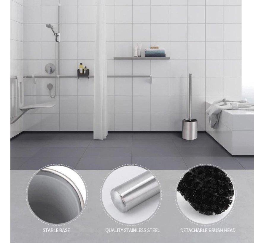 5 X Toilet Brush Stainless Steel - Toilet Brush Stainless Steel - Stainless Steel Toilet Brush in Holder - Toilet Brush Holder - Toilet Brush - 5 Pieces - Toilet Brush with Holder Freestanding - Brushed Stainless Steel