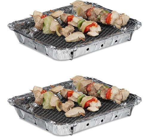 Discountershop 2 Pieces Barbecue - Instant - Disposable - Outdoor barbecue - Table - Grid - Balcony - Picnic - Barbecue accessories - Grill - Buy barbecue - Barbecue - Barbecue sauce -