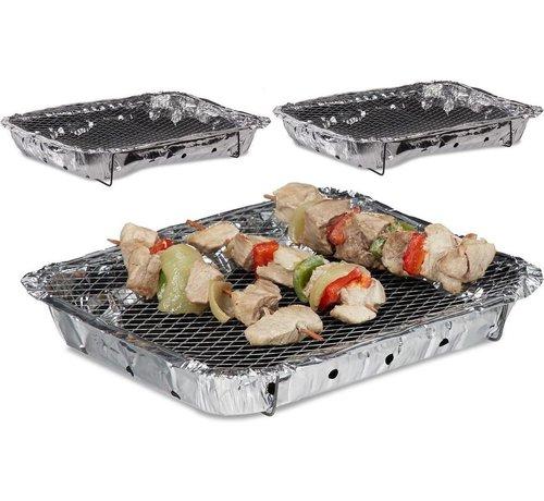 Discountershop 3 Stuks Barbecue - Instant - Wegwerp - Buiten barbecue - Tafel - Rooster - Balkon  - Barbecue accessoires - Grill