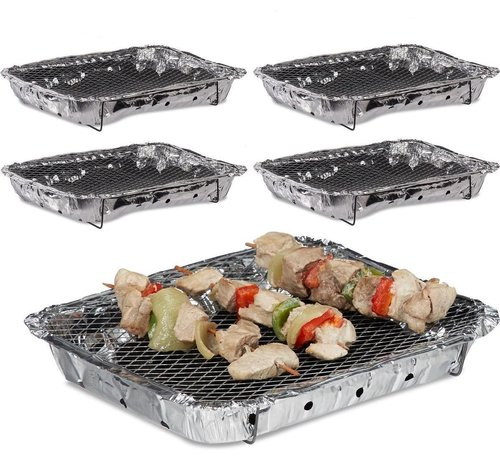 Discountershop 5 Stuks Barbecue - Instant - Wegwerp - Buiten barbecue - Tafel - Rooster - Picknick - Barbecue accessoires - Grill