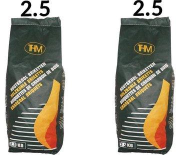 THM 2X charcoal briquettes of 2.5 KG - 2 bags of charcoal briquettes Per bag 2.5 KG - Barbecue - BBQ - 2 Pieces - Total 5 KG